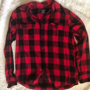 Red and black buffalo plaid button up